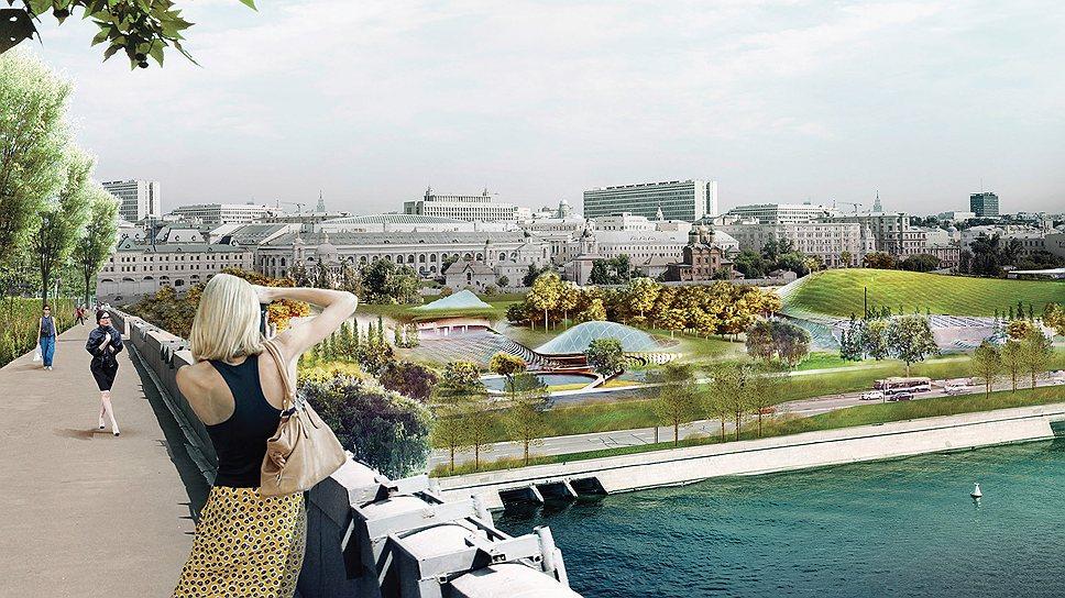 Общая панорама на «Зарядье» с Москвы-реки