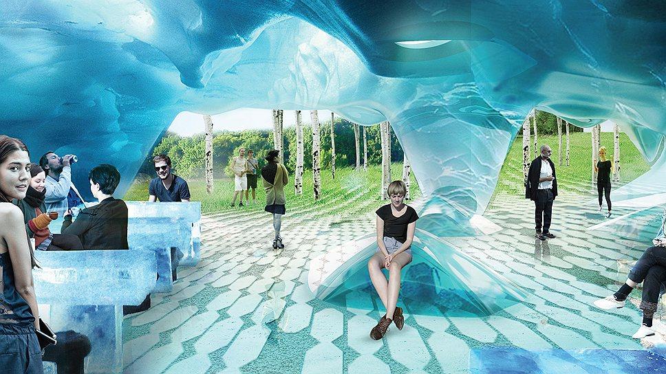 Согласно концепции команды Diller Scofidio + Renfo, на территории парка «Зарядья» будут чередоваться разнообразные пространства - открытые, закрытые или полуоткрытые. На фото пример одного из таких пространств в виде ледяной пещеры