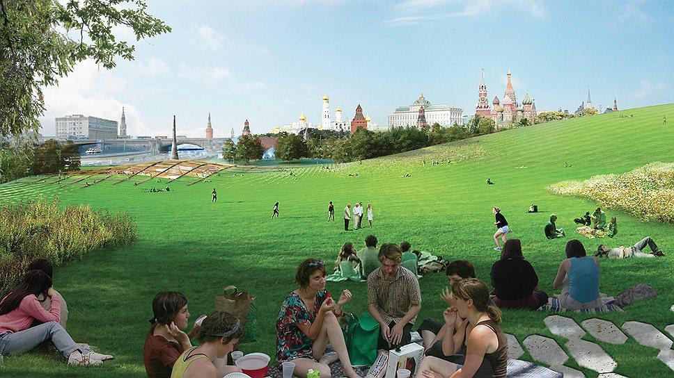 Парк «Зарядье» летом. Согласно концепции команды Diller Scofidio + Renfo,  «посетителям парка не навязываются определенные маршруты, а растения растут свободно»