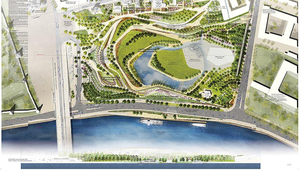 Мастер-план парка «Зарядье» по проекту команды во главе с ТПО «Резерв»