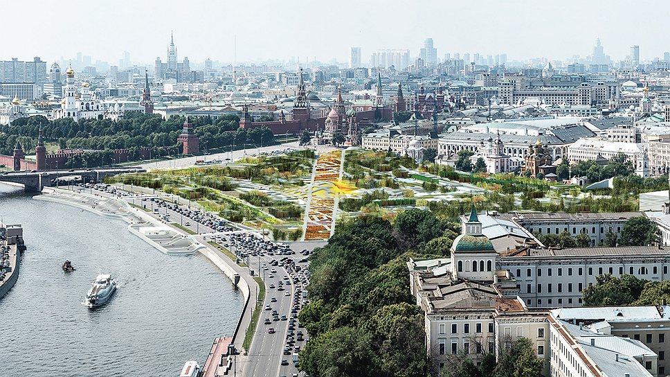 Панорама парка «Зарядье» по проекту команды во главе с бюро MVRDV, третье место на конкурсе