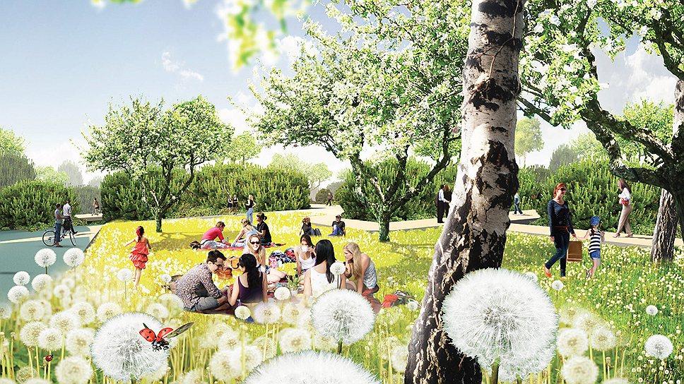 Общий вид парка, предложенного голландским бюро MVRDV
