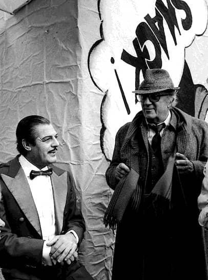 «Он всегда много ел. Я обратил на это внимание, потому что чувствую естественную симпатию к людям с хорошим аппетитом», — так описывал свою первую встречу с Марчелло Мастроянни итальянский режиссер Федерико Феллини (справа)