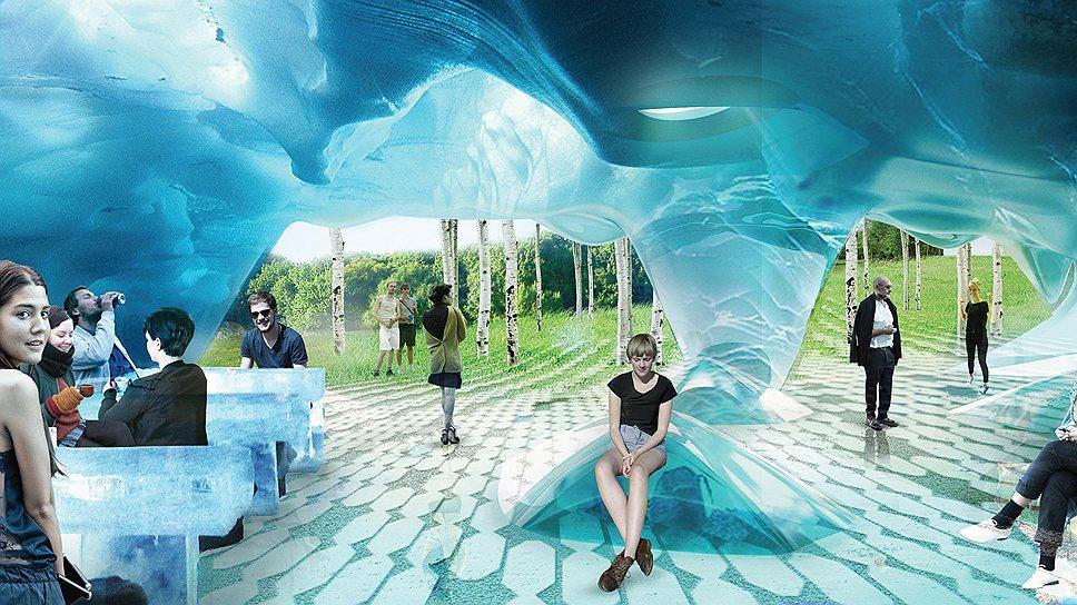 Согласно концепции команды Diller Scofidio + Renfo, на территории парка «Зарядья» будут чередоваться разнообразные пространства — открытые, закрытые или полуоткрытые. На фото пример одного из таких пространств в виде ледяной пещеры