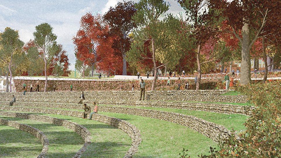 Виды парка «Зарядье» по проекту ТПО «Резерв». Амфитеатр
