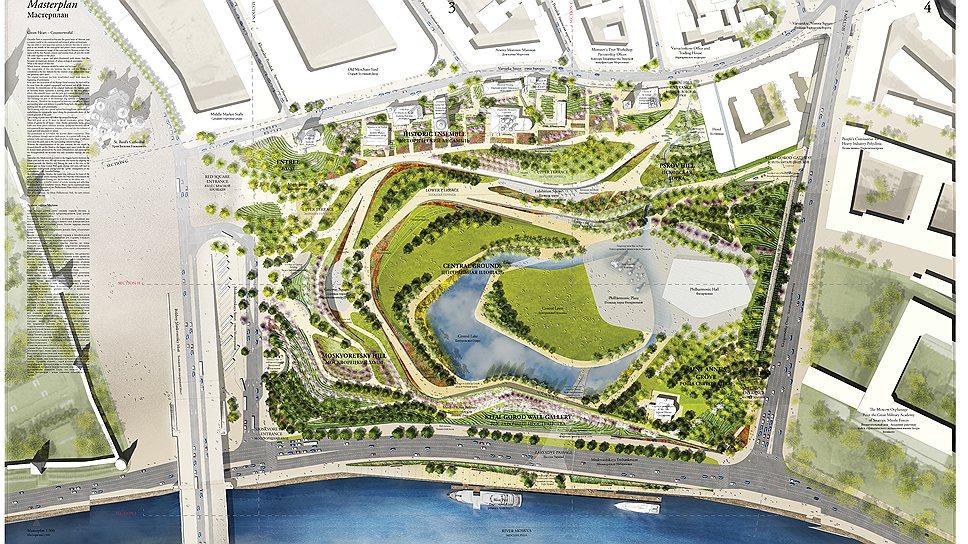 Мастер-план парка «Зарядье» по проекту команды во главе с ТПО «Резерв», занявшей второе место