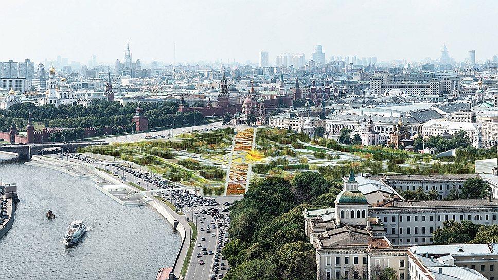 Общая панорама парка «Зарядье» по проекту команды во главе с бюро MVRDV, занявшей третье место