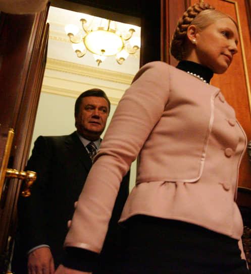 В апреле 2007 года после проведения внеочередных парламентских выборов Блоку Юлии Тимошенко удалось занять второе место и сформировать правительство. В декабре 2007 года Тимошенко вновь возглавила кабинет министров, сменив на посту премьера Виктора Януковича (на фото)