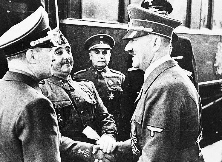 «Если Германия будет уничтожена и Россия укрепит свое господство в Европе и Азии, а Соединенные Штаты будут подобным же образом господствовать на Атлантическом и Тихом океанах как самая мощная держава мира, то европейские страны, которые уцелеют на опустевшем континенте, встретятся с самым серьезным и опасным кризисом в своей истории» <br>Во время Второй мировой войны Испания старалась сохранять нейтралитет. Франсиско Франко говорил немецкому послу в Испании Гансу Генриху Дикхофу: «Такая осторожная политика отвечает не только интересам Испании, но и интересам Германии. Нейтральная Испания, поставляющая Германии вольфрам и другие продукты, в настоящее время нужнее Германии, чем вовлеченная в войну». В октябре 1940 года Франко встретился с Гитлером (на фото справа) и отказался участвовать в плане по захвату Гибралтара, потребовав более выгодных условий соглашения. В итоге после окончания войны режим Франсиско Франко смог удержаться