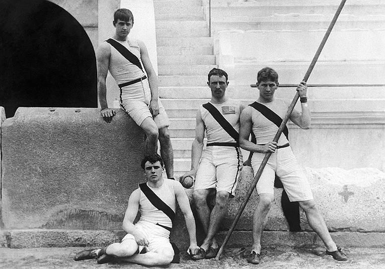1896 год. В Афинах (Греция) открылись первые современные летние Олимпийские игры<br>На фото: атлеты команды Принстонского университета