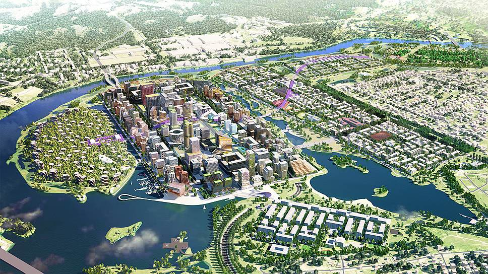Общий вид. Концепция консорциума во главе с российским ТПО «Резерв» и голландским бюро Maxwan architects + urbanists