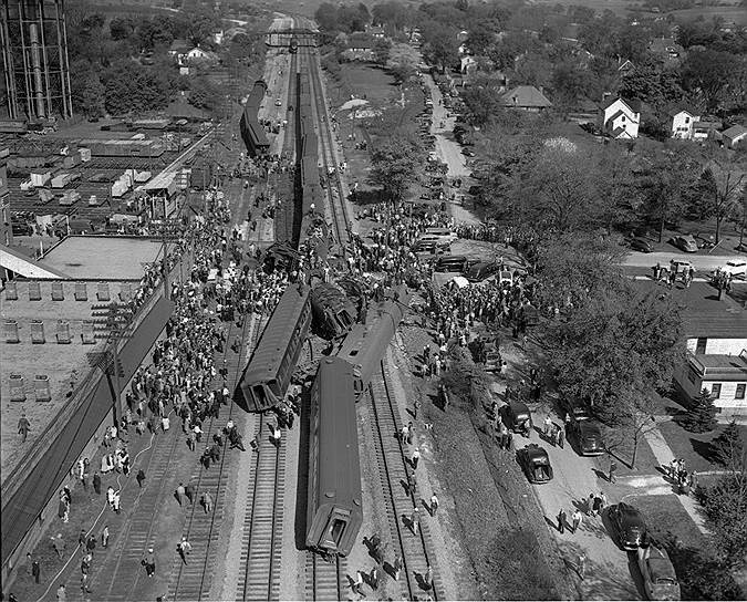1946 год. 47 человек погибли и 36 получили ранения в результате крушения поезда в американском штате Иллинойс
