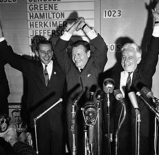 Джон Дэвисон Рокфеллер-младший в 1901 году женился на Эбби Олдрич Грин, дочери влиятельного сенатора, и один из сыновей пары (всего у них было шестеро детей) — Нельсон Олдрич Рокфеллер — стал не только бизнесменом, но и успешным политиком. С 1959 по 1973 годы он (на фото в центре) занимал должность губернатора Нью-Йорка, а в 1974 году стал вице-президентом США