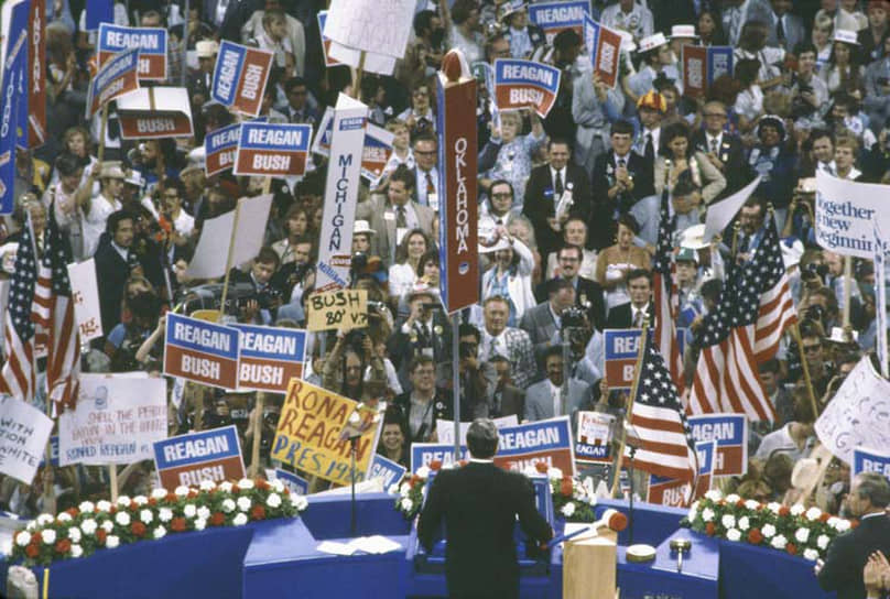 «Люди, у которых есть свобода выбора, всегда выберут мир» <br>Политическая звезда Рейгана взошла, когда он победил на президентских выборах в 1980 году. Его соперником был действующий президент, демократ Джимми Картер. В 1984 году Рейган был переизбран на второй срок