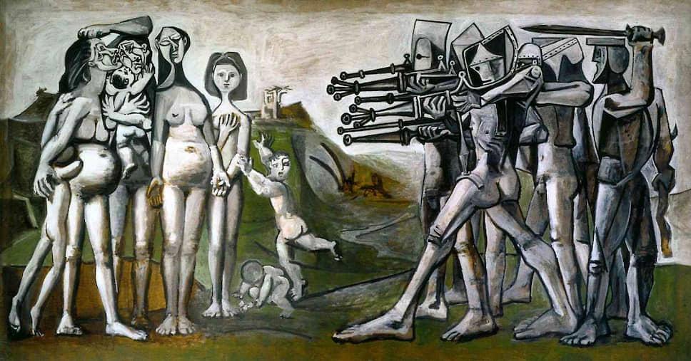 Картина Пабло Пикассо «Резня в Корее» (1951 года) отражает зверства военных против мирного населения, имевшие место во время Корейской войны. Известно, что в Южной Корее картина была сочтена антиамериканской и долгое время после войны запрещалась к показу (вплоть до 1990-х годов)