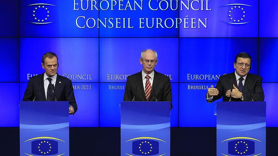 Польский премьер Дональд Туск, председатель Европейского совета Херман Ван Ромпёй, председатель Еврокомиссии Жозе Мануэл Баррозу