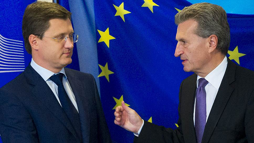 Министр энергетики России Александр Новак и еврокомиссар по энергетике Гюнтер Эттингер
