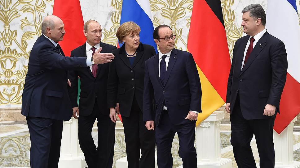 Президент Белоруссии Александр Лукашенко, президент России Владимир Путин, федеральный канцлер Германии Ангела Меркель, президент Франции Франсуа Олланд и президент Украины Петр Порошенко