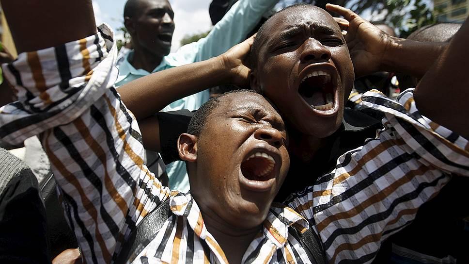 Найроби, Кения. Студенты во время демонстрации против терроризма