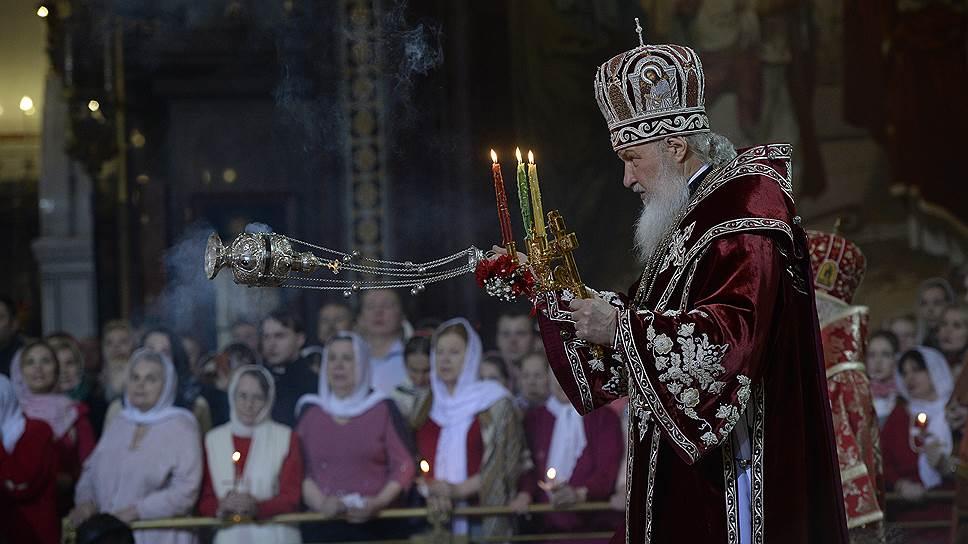 Патриарх Кирилл во время пасхального богослужения в кафедральном соборном Храме Христа Спасителя