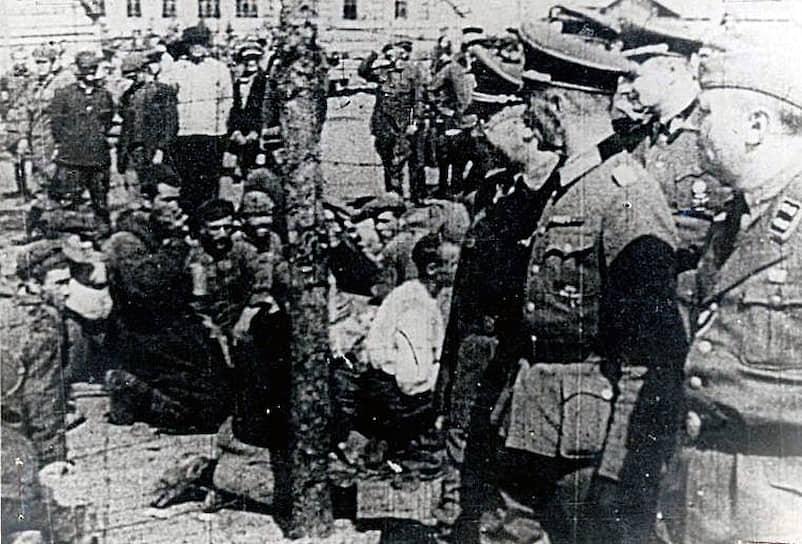 Лагерь был создан по приказу рейхсфюрера СС Генриха Гиммлера (на фото третий справа). Он приезжал в Освенцим несколько раз, инспектируя лагеря, а также отдавая приказы по их расширению. 3 сентября 1941 года для уничтожения людей был впервые использован газ. В июле 1942 года Гиммлер лично демонстрировал его использование на  узниках Аушвица II. Весной 1944 года Гиммлер приехал в лагерь со своей последней инспекцией, в ходе которой было приказано убить всех неработоспособных цыган