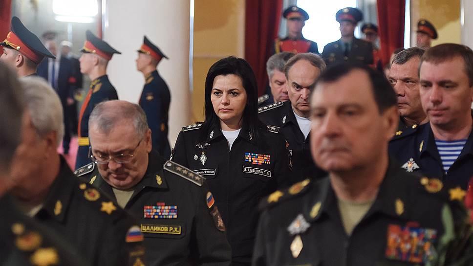 Заместители министра обороны России слева направо: Руслан Цаликов, Татьяна Шевцова, Анатолий Антонов, Дмитрий Булгаков и Юрий Борисов