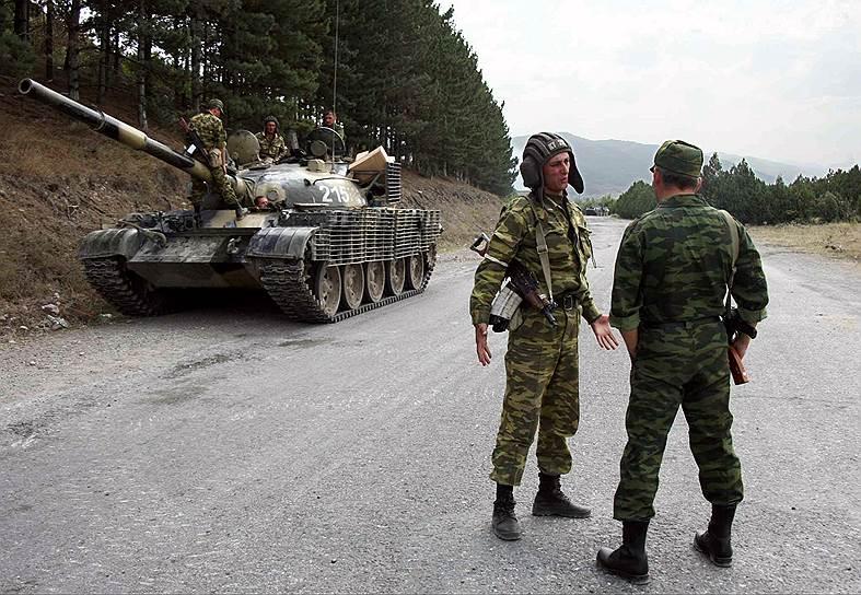 Российский блокпост на въезде в Гори со стороны Тбилиси