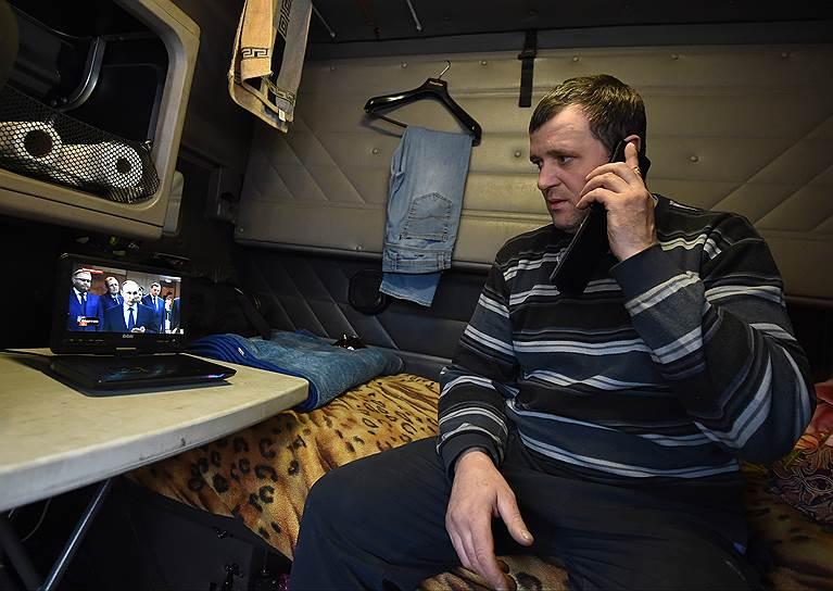 Акция дальнобойщиков на трассе Москва — Санкт-Петербург