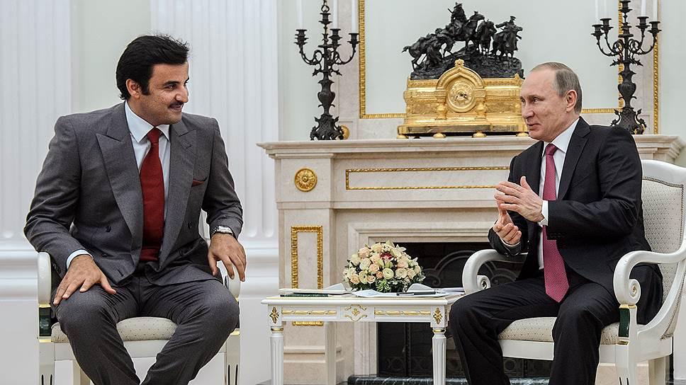Эмир государства Катар Тамим бен Хамад Аль Тани (cлева) и президент России Владимир Путин