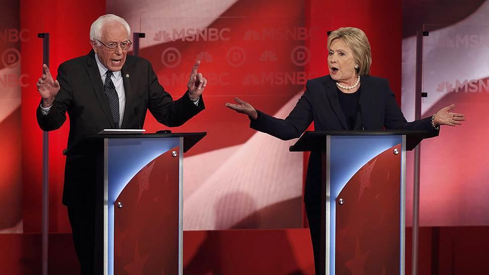 Бывший госсекретарь и претендент на пост президента США от Демократической партии Хиллари Клинтон и сенатор Берни Сандерс
