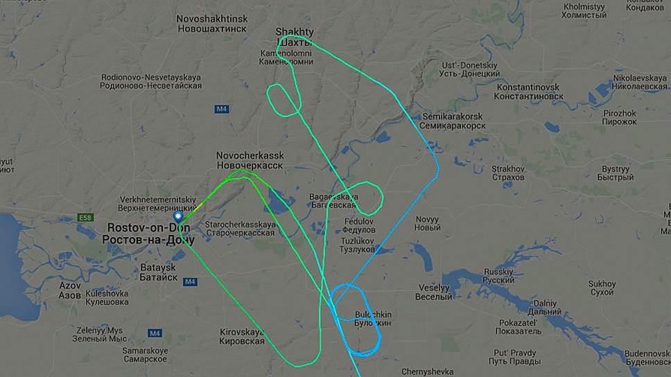 Траектория движения рейса FZ981 авиакомпании flydubai возле Ростова-на-Дону