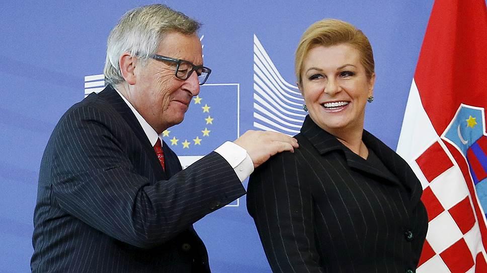 Председатель Еврокомиссии Жан-Клод Юнкер и президент Хорватии Колинда Грабар-Китарович