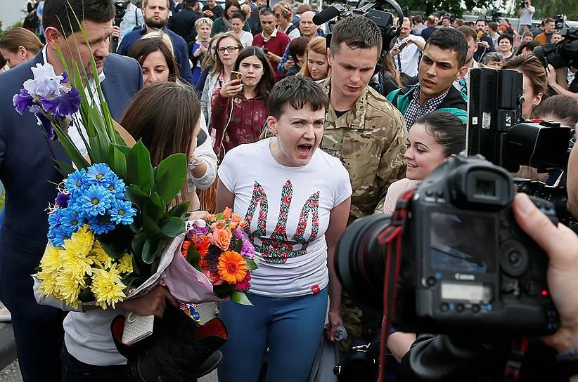 Надежда Савченко в аэропорту Борисполь