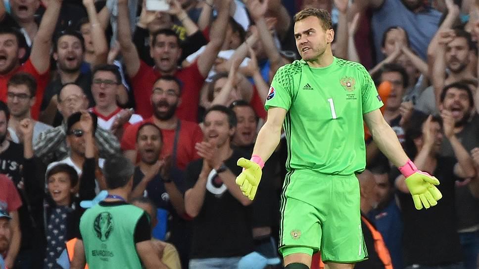 Несмотря на три пропущенных мяча, лучшим в составе сборной России был ее вратарь Игорь Акинфеев