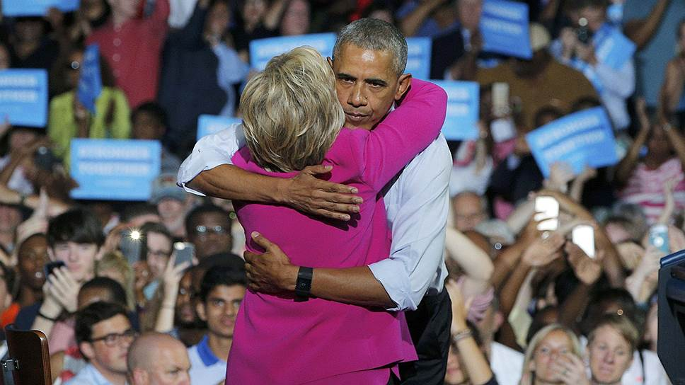 Президент США Барак Обама и кандидат в президенты США от демократов Хиллари Клинтон