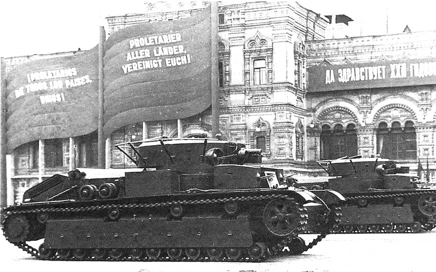 В 1933 году на вооружение Красной армии были приняты танки Т-28 (на фото) и Т-35. На первый были установлены три башни, на второй — пять. СССР стал единственной страной, в которой многобашенные танки производились серийно. Т-28 выпускался на Кировском заводе в Ленинграде до 1940 года, Т-35 — на Харьковском паровозостроительном заводе до 1939 года