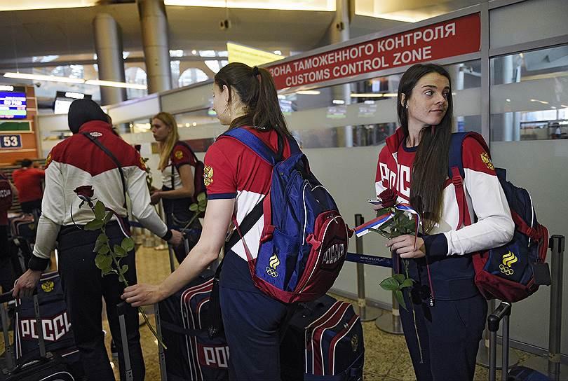 Проводы олимпийской сборной России в аэропорту Шереметьево