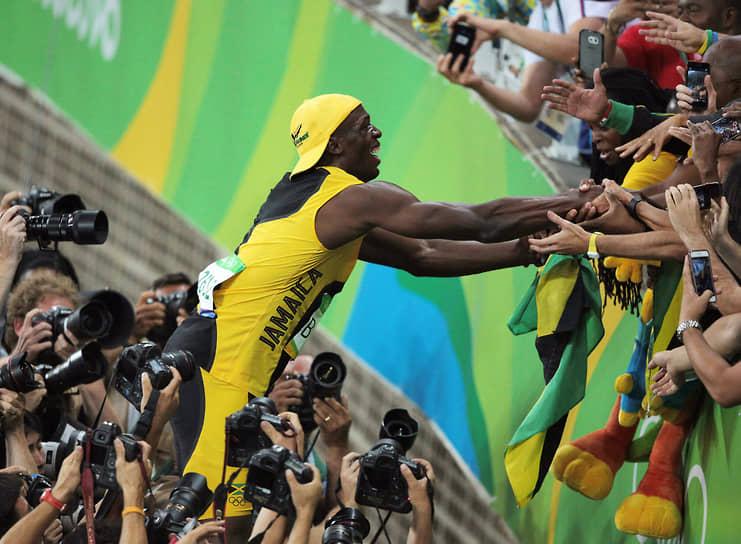 В 2016 году на Олимпийских играх в Рио-де-Жанейро 2016 Усейн Болт выиграл три золотые медали (100 м, 200 м, эстафета 4x100 м), доведя общее количество золотых медалей на Олимпийских играх до восьми