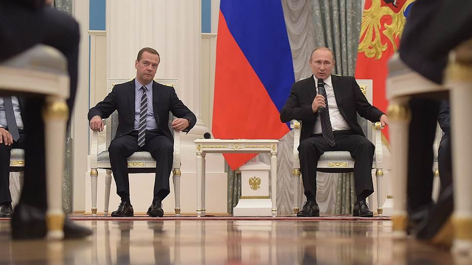 Премьер-министр Дмитрий Медведев и президент Владимир Путин