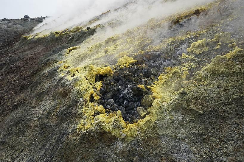 Выделение газа на вулкане Кудрявый