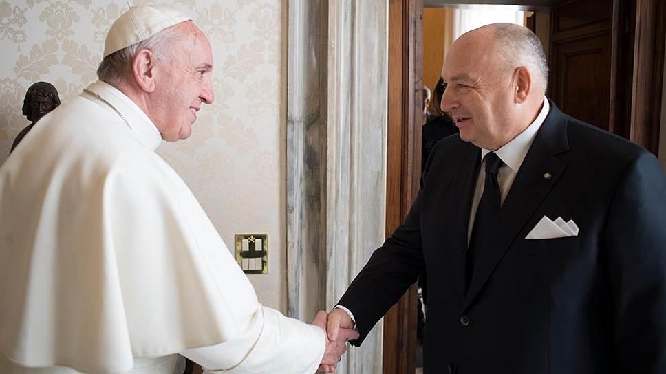 Папа Римский Франциск и президент Европейского еврейского конгресса Вячеслав Кантор