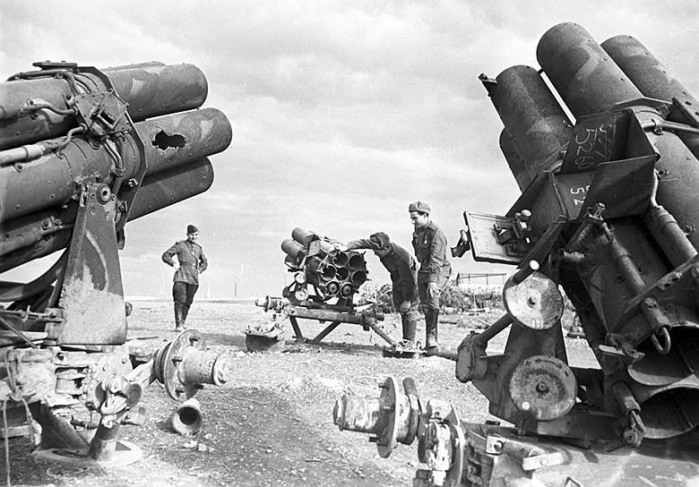 Трофейные шестиствольные минометы, 1945