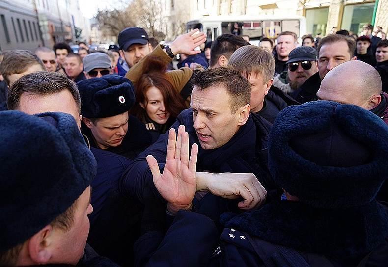 Москва. Задержание политика Алексея Навального