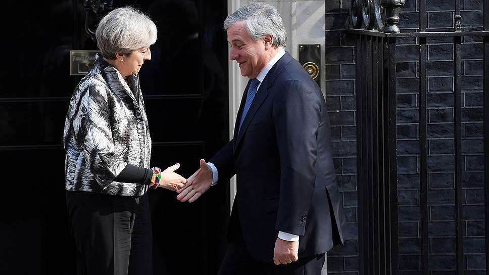 Премьер-министр Великобритании Тереза Мэй и председатель Европарламента Антонио Таяни