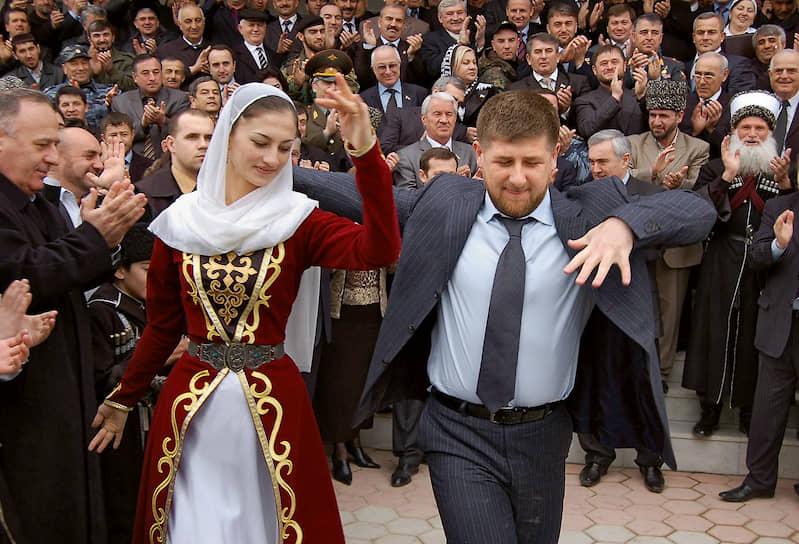 Рамзан Кадыров на праздновании после утверждения его кандидатуры на пост главы Чечни