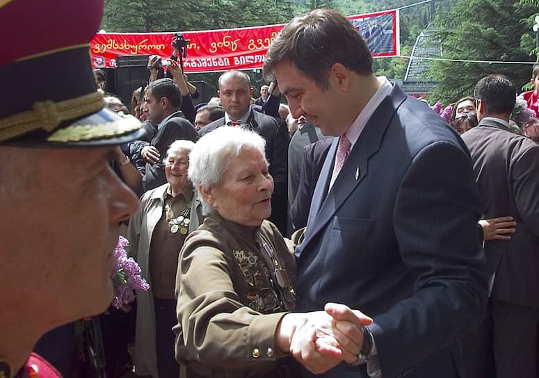 Бывший президент Грузии Михаил Саакашвили на встрече с ветеранами Великой Отечественной войны