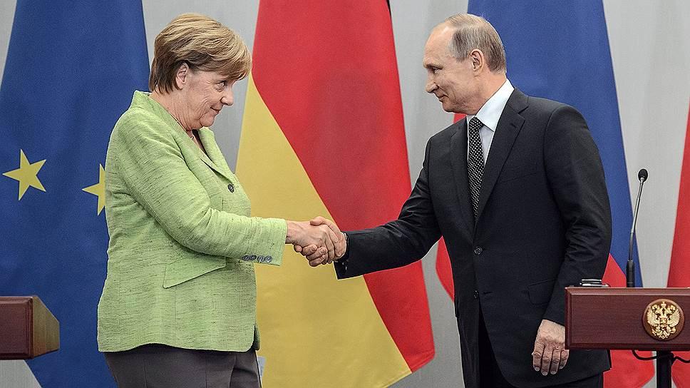 Федеральный канцлер Германии Ангела Меркель и президент России Владимир Путин