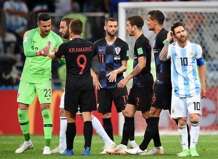 На ЧМ-2018 в России Лионель Месси (справа) забил лишь один гол в матче против сборной команды Нигерии