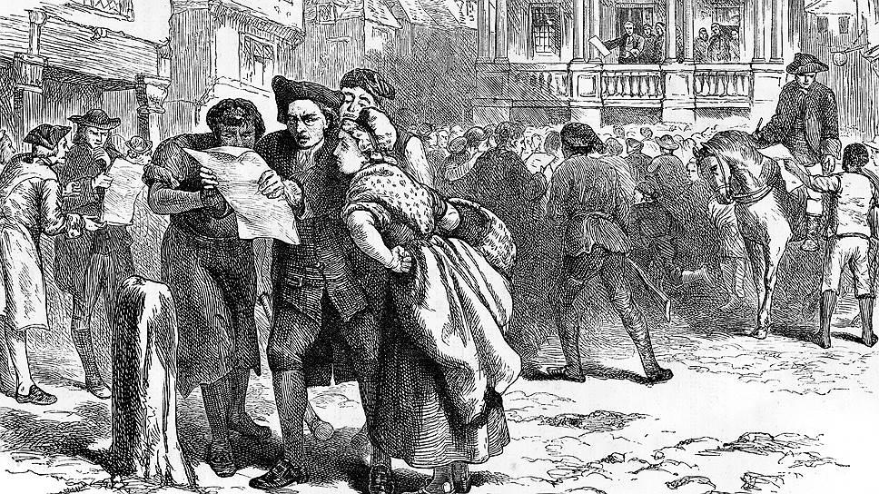 Американские колонисты коллективно возмутились решением Великобритании применить к ним налогообложение