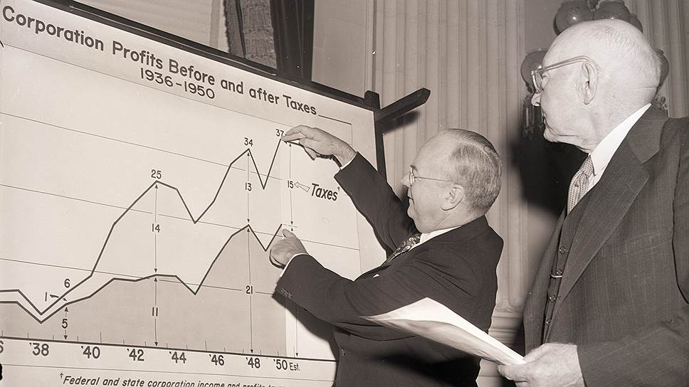 После Второй мировой войны администрация президента Трумэна решила, что американские корпорации получили достаточно прибыли для помощи бюджету: на фото 1950 года министр финансов США Джон Снайдер (слева) наглядно показывает конгрессмену Роберту Даутону необходимость налога на прибыль корпораций в 75%